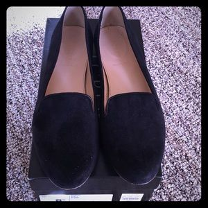 JCrew Cleo black suede loafers worn for an hour.
